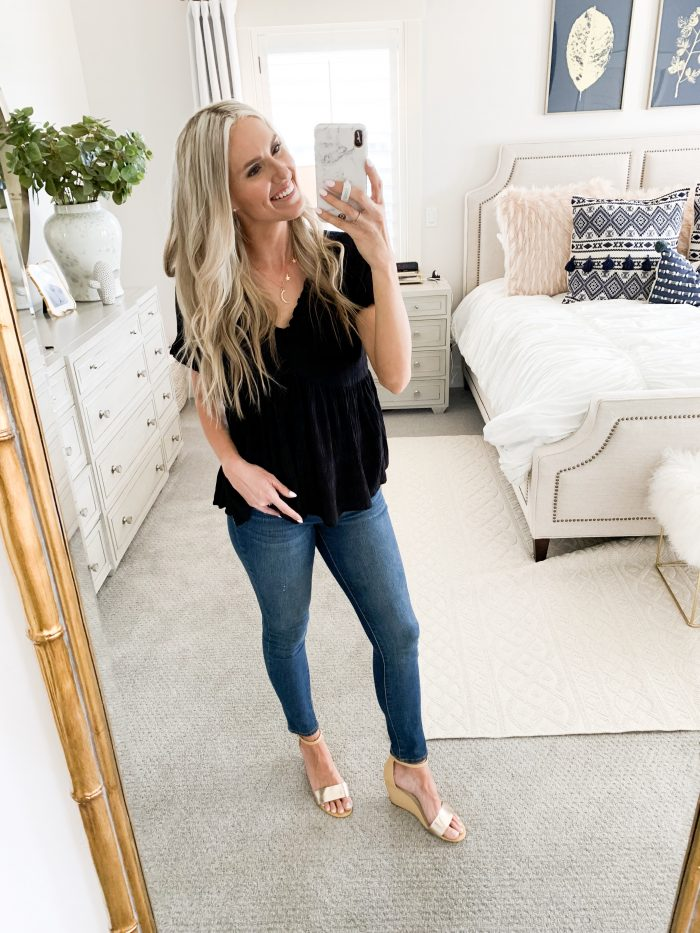 Walmart Fall Fashion Haul! by popular Utah fashion blog, A Slice of Style: image of a woman wearing Time and Tru Women's Core High Rise Skinny Jean.