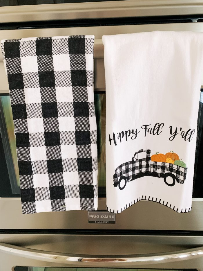 My Home Decorated for Fall! by popular Utah lifestyle blog, A Slice of Style: image of black and white buffalo plaid hand towels.