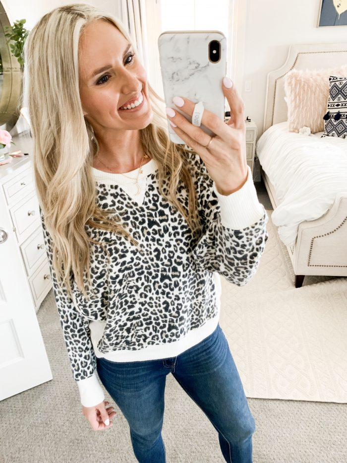 Walmart Fall Fashion Haul! by popular Utah fashion blog, A Slice of Style: image of a woman wearing a Walmart Sweet Romeo Women's Athleisure Yummy Pullover.