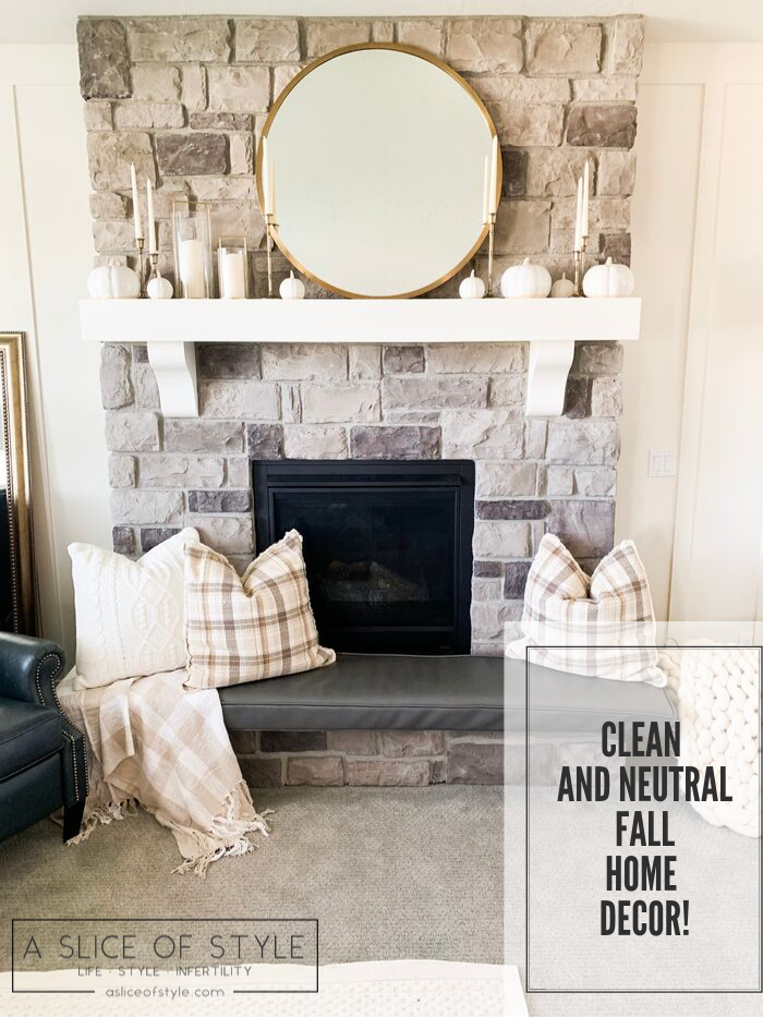 My Home Decorated for Fall! by popular Utah lifestyle blog, A Slice of Style: image of a fireplace mantle decorated with Target Threshold cream Decorative Ceramic Pumpkins, Target Threshold Plaid Cotton Throw Blanket, Target Threshold Cable Knit Chenille Throw Pillow, and Etsy Crateful Studio Chunky Knit Blanket.