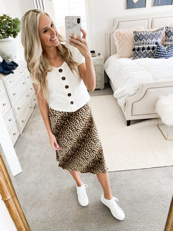 Walmart Fall Fashion Haul! by popular Utah fashion blog, A Slice of Style: image of a woman wearing a Walmart Love Sadie Women's Printed Midi Slip Skirt, Poof Apparel Juniors' Rib Knit Button Front Short Sleeve T-Shirt, and Time and Tru Women's Court Shoe.