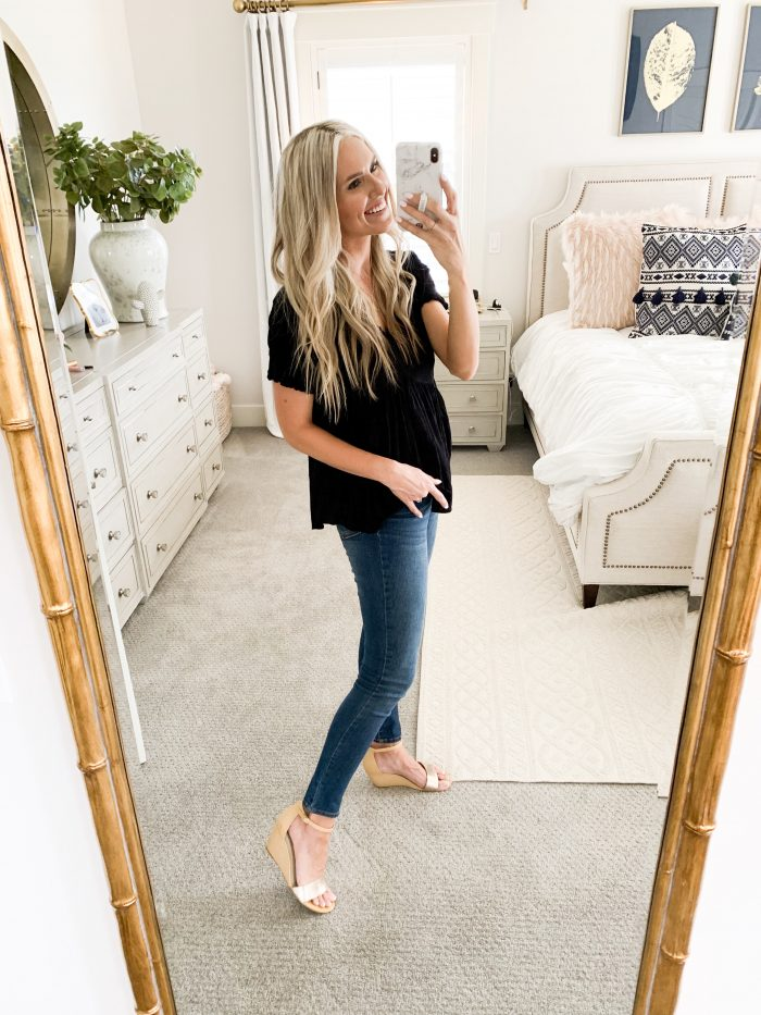 Walmart Fall Fashion Haul! by popular Utah fashion blog, A Slice of Style: image of a woman wearing a black top and Walmart Time and Tru Women's Core High Rise Skinny Jean.