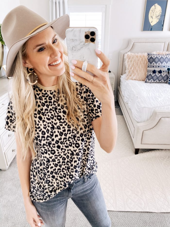 Best Loungewear on Amazon by popular Utah fashion blog, A Slice of Style: image of a woman wearing a Amazon BMJL Women's Casual Cute Shirts Leopard Print Top