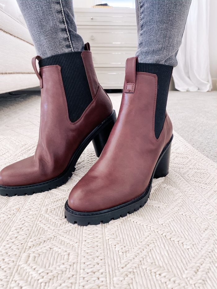 Amazon Fall Fashion Favorites featured by top US life and style blog, A Slice of Style: image of a woman wearing burgundy Chelsea boots