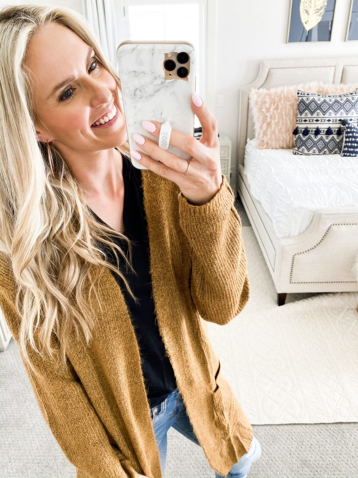 Walmart Fall fashion haul featured by top US fashion blog, A Slice of Style: image of a woman wearing a cozy long cardigan from Walmart