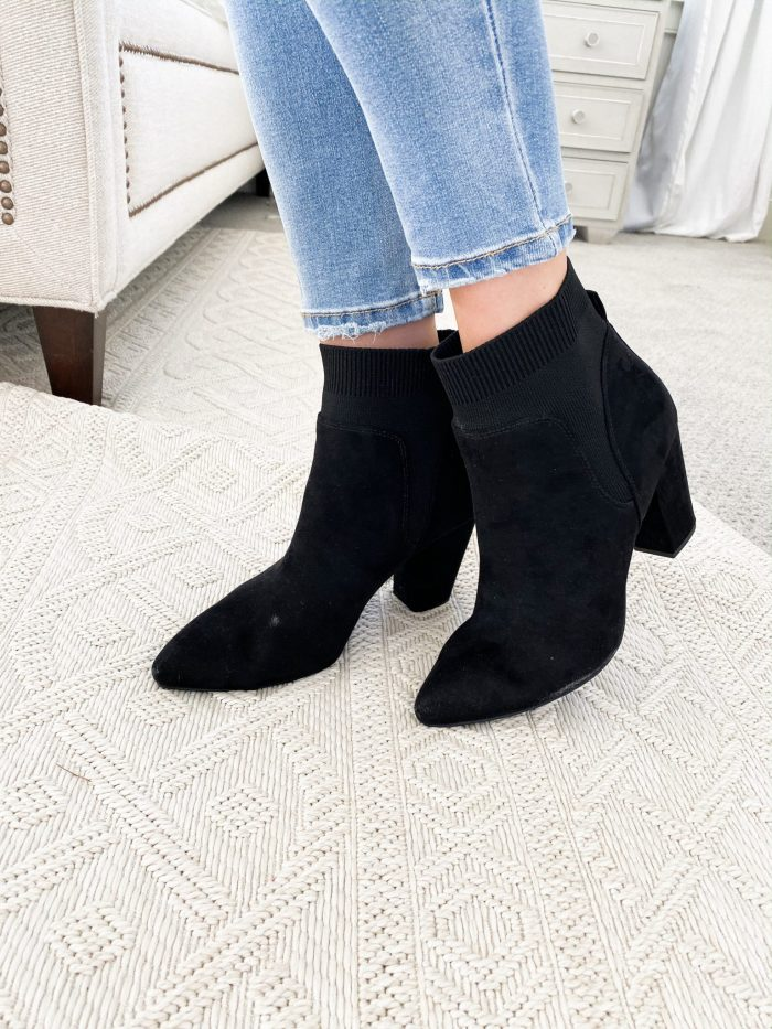Walmart Fall fashion haul featured by top US fashion blog, A Slice of Style: image of a woman wearing black suede booties from Walmart