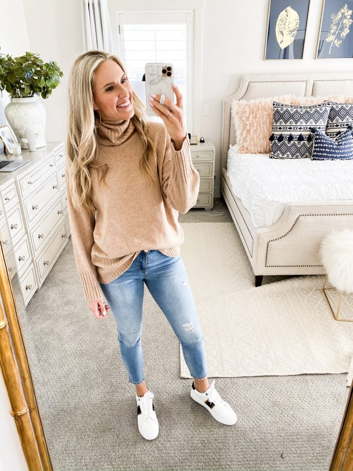 Walmart Fall fashion haul featured by top US fashion blog, A Slice of Style: image of a woman wearing a cozy fall sweater from Walmart