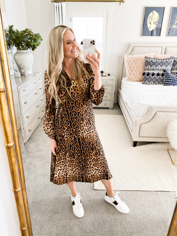 Walmart Fall fashion haul featured by top US fashion blog, A Slice of Style: image of a woman wearing a leopard print midi dress