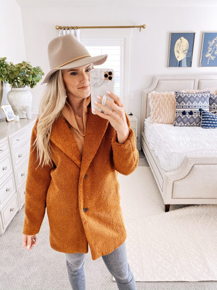 Amazon Fall Fashion Favorites featured by top US life and style blog, A Slice of Style: image of a woman wearing a rust teddy bear coat