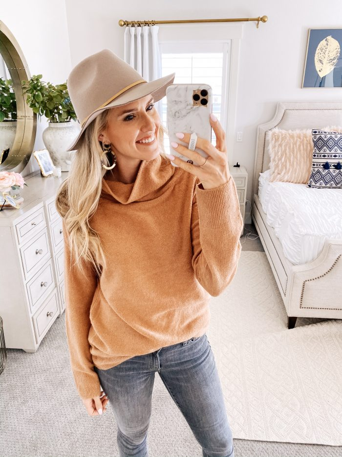 Amazon Fall Fashion Favorites featured by top US life and style blog, A Slice of Style: image of a woman wearing a camel turtleneck sweater