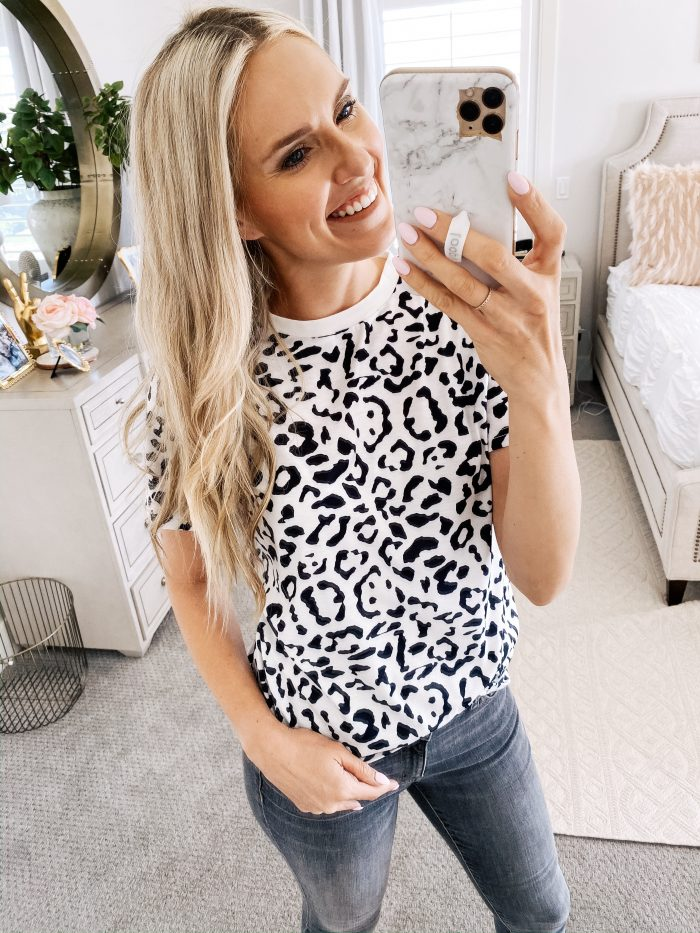Amazon Fall Fashion Favorites featured by top US life and style blog, A Slice of Style: image of a woman wearing a leopard print tee shirt