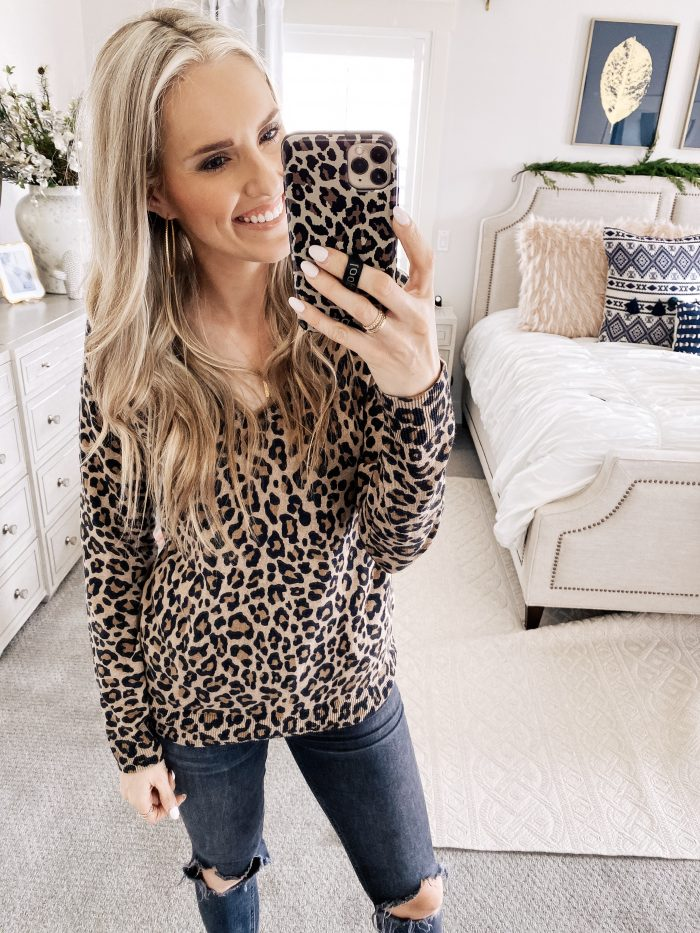 Best Loungewear on Amazon by popular Utah fashion blog, A Slice of Style: image of a woman wearing a Amazon Essentials Women's Lightweight V-Neck Sweater