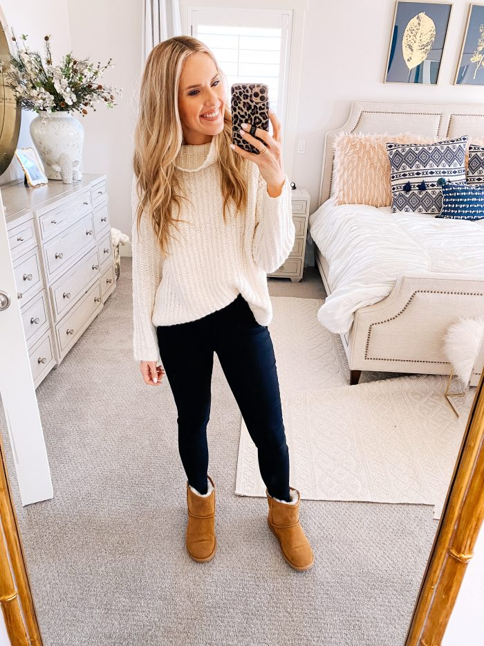 Walmart Fashion January Haul! by popular Utah mom style blog, A Slice of Style: image of a woman wearing a Walmart Scoop Waffle Knit Turtleneck Sweater, Walmart Melrose Ave Vegan Suede Knee High Block Heel Boot, and Walmart Time and Tru Women's Sculpted Jegging.