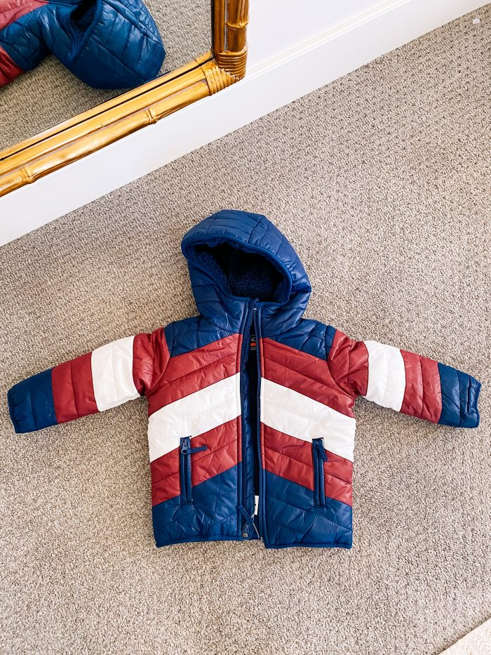 Walmart Fashion January Haul! by popular Utah mom style blog, A Slice of Style: image of a Walmart The Children's Place Baby Toddler color block jacket.