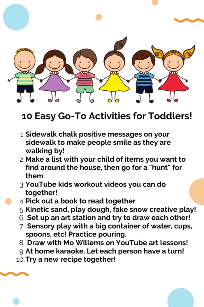 Fun Activities for Kids at Home by popular Utah lifestyle blog, A Slice of Style: printable image of 10 easy go-to activities for toddlers.