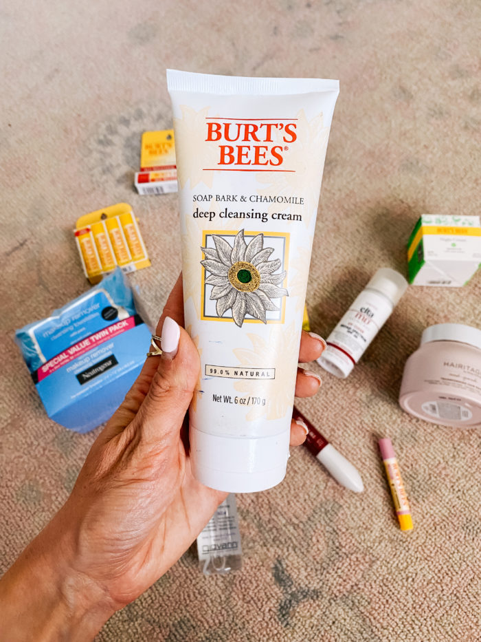 Walmart Beauty Products by popular Utah beauty blog, A Slice of Style: image of a woman holding a tube of Walmart Burt's Bees deep cleansing cream.