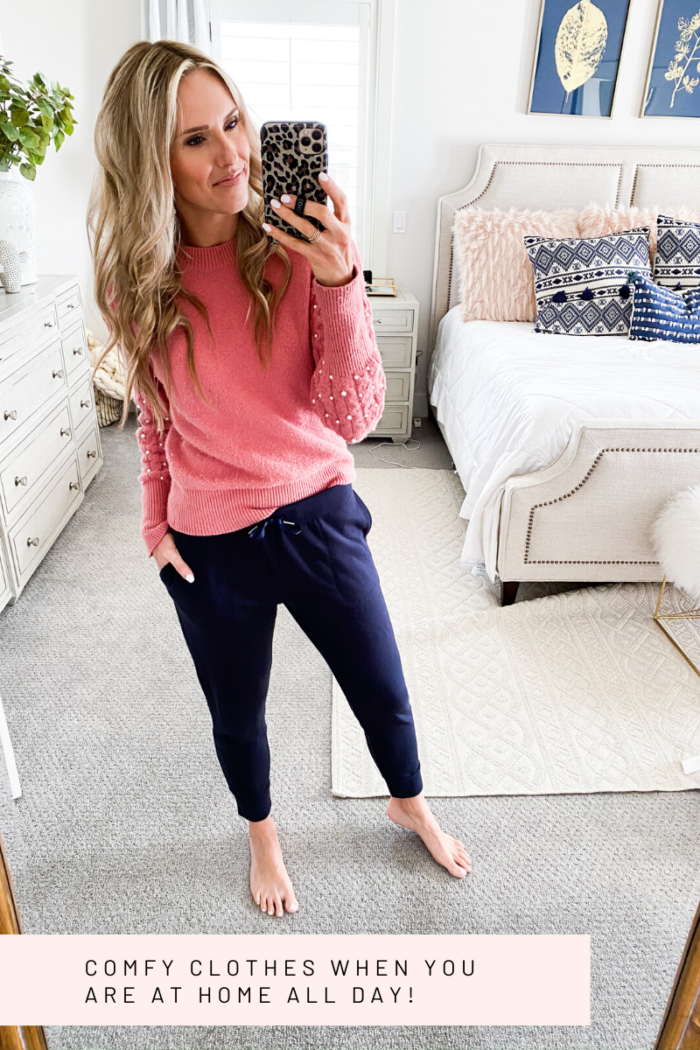 Best Loungewear on Amazon by popular Utah fashion blog, A Slice of Style: Pinterest image of a woman wearing a pink sweater with pearl accented sleeves and blue joggers.
