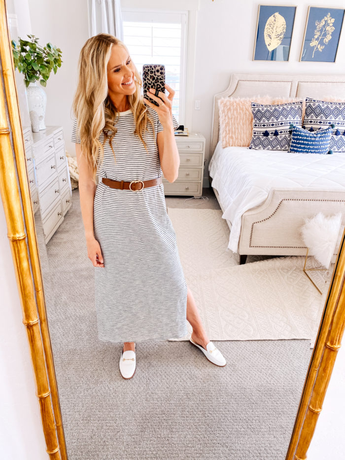 Amazon haul by popular Utah fashion blog, A Slice of Style: image of a woman wearing a Amazon Daily Ritual Women's Lived-in Cotton Short-Sleeve Crewneck Maxi Dress and Amazon belt.