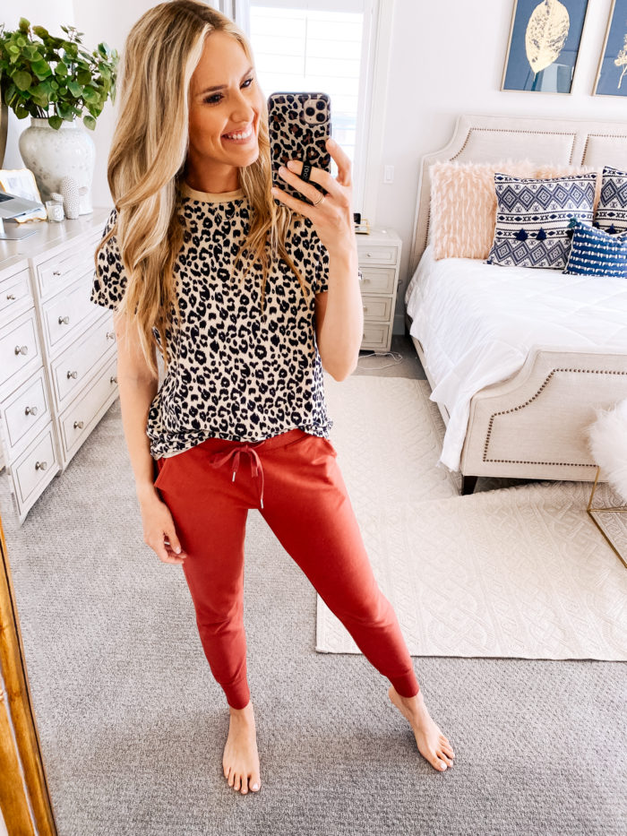 Amazon haul by popular Utah fashion blog, A Slice of Style: image of a woman wearing a Amazon BMJL Women's Casual Cute Shirts Leopard Print Top and Amazon Daily Ritual Women's Terry Cotton and Modal Jogger.