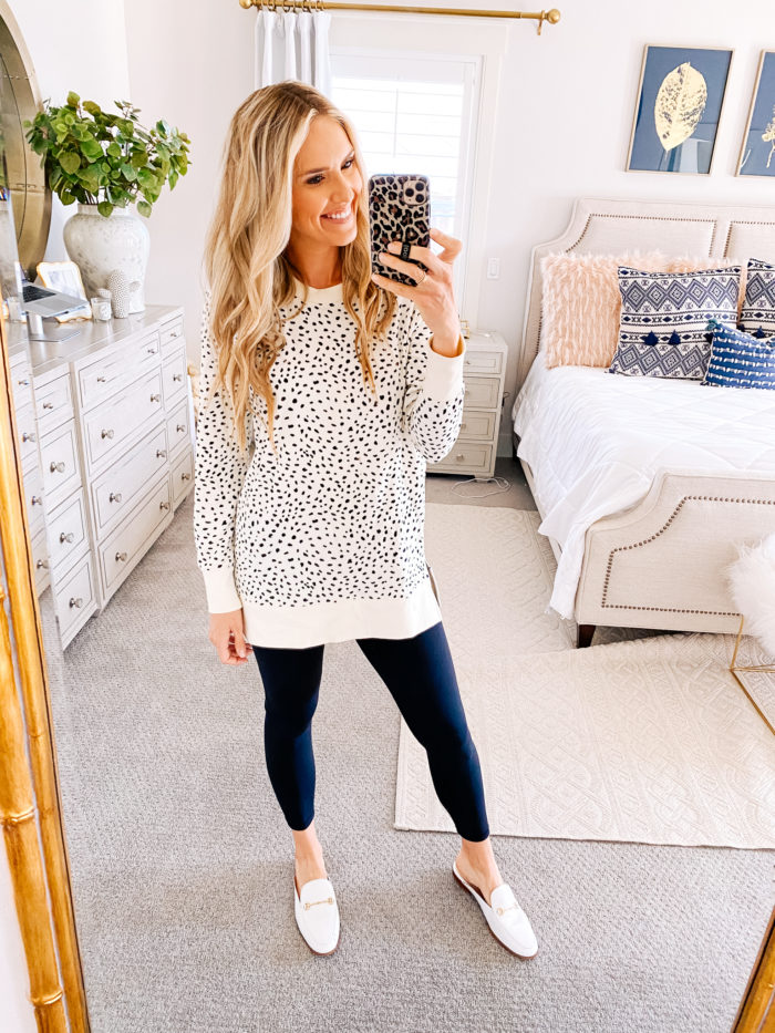 Amazon haul by popular Utah fashion blog, A Slice of Style: image of a woman wearing a Amazon Sam Edelman Women's Linnie Mule, Amazon Daily Ritual Women's Terry Cotton and Modal Side-Vent Tunic, and leggings.