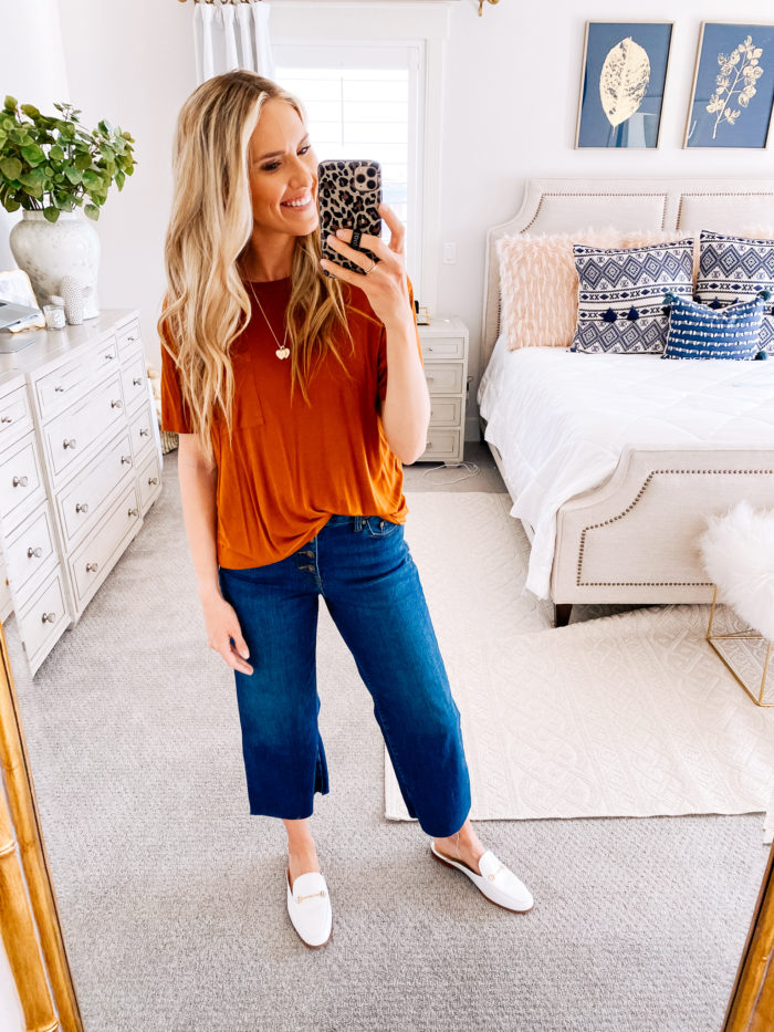 Amazon haul by popular Utah fashion blog, A Slice of Style: image of a woman wearing a Amazon Sam Edelman Women's Linnie Mule, Amazon Daily Ritual Women's Jersey Short-Sleeve Crewneck Boxy Pocket T-Shirt and Amazon Daily Ritual Women's Wide-Leg Crop Jean.