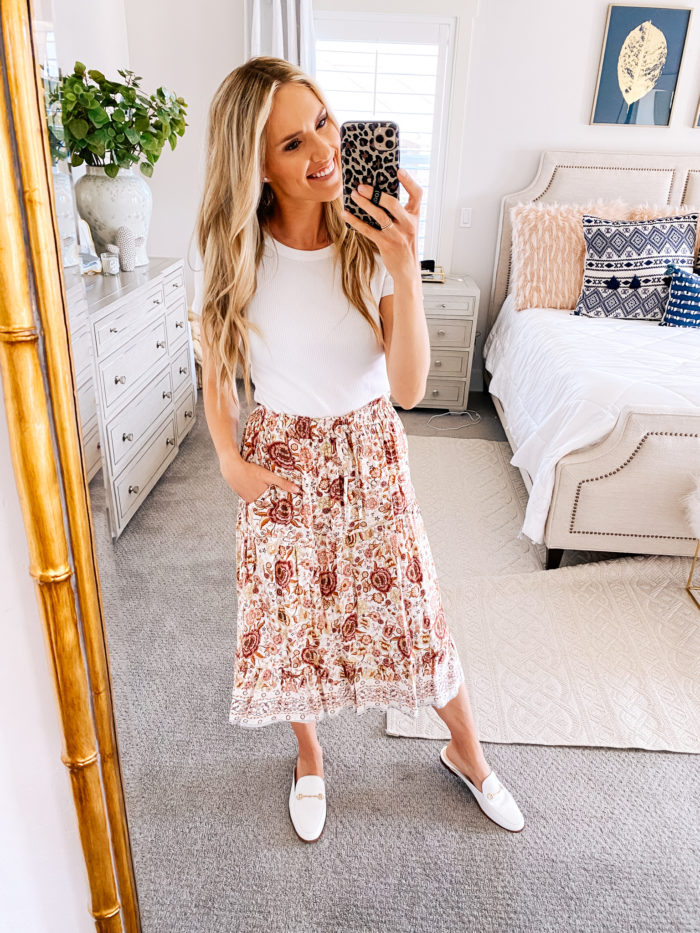 Amazon haul by popular Utah fashion blog, A Slice of Style: image of a woman wearing a Amazon MEROKEETY Women's Boho Floral Print Elastic High Waist Pleated A Line Midi Skirt with Pockets and Amazon Sam Edelman Women's Linnie Mule.