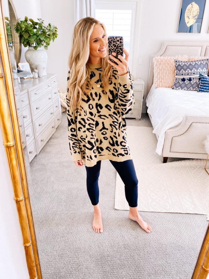 Amazon haul by popular Utah fashion blog, A Slice of Style: image of a woman wearing a Amazon PRETTYGARDEN Women's Casual Leopard Print Long Sleeve Crew Neck Oversized Pullover Knit Sweaters Top and Amazon leggings.