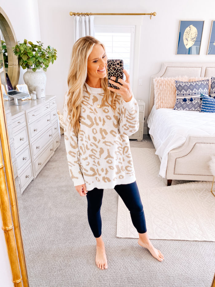 Amazon haul by popular Utah fashion blog, A Slice of Style: image of a woman wearing a Amazon PRETTYGARDEN Women's Casual Leopard Print Long Sleeve Crew Neck Oversized Pullover Knit Sweaters Top and Amazon