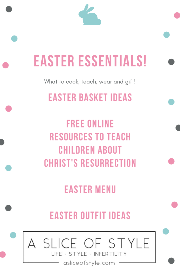 Easter Essentials by popular Utah lifestyle blog, A Slice of Style: Pinterest image of Easter essentials.