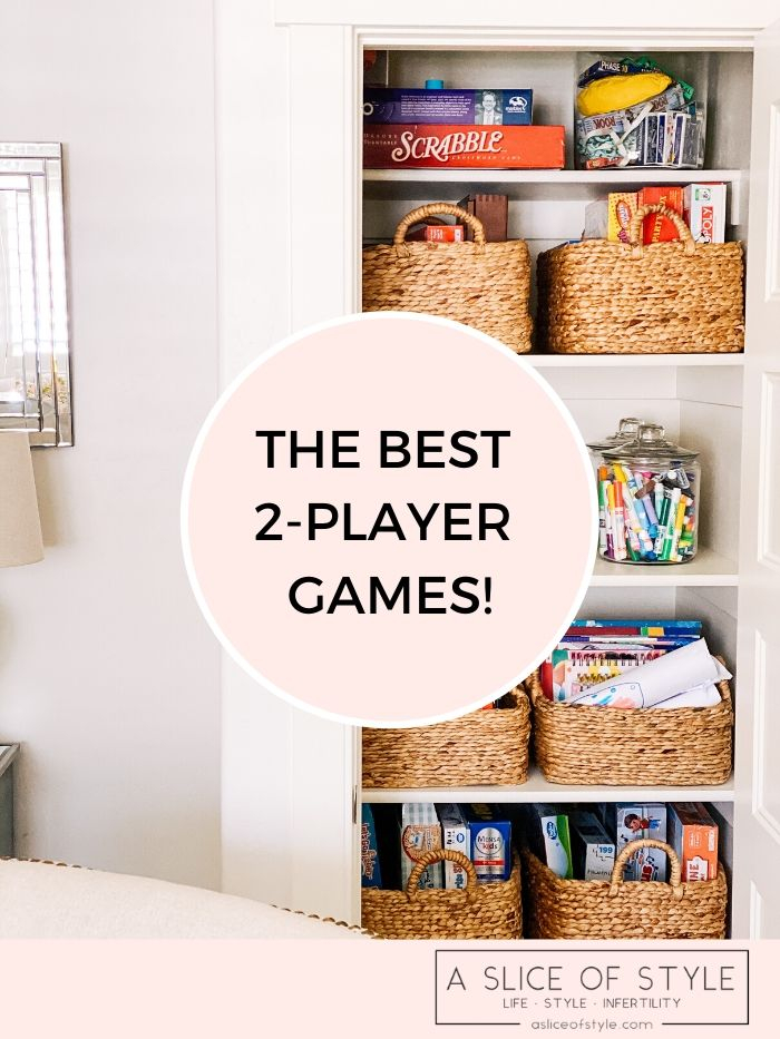 2-player games | 2 Player Games by popular Utah lifestyle blog, A Slice of Style: Pinterest image of a game closet with woven baskets containing board games, card games, and art supplies.