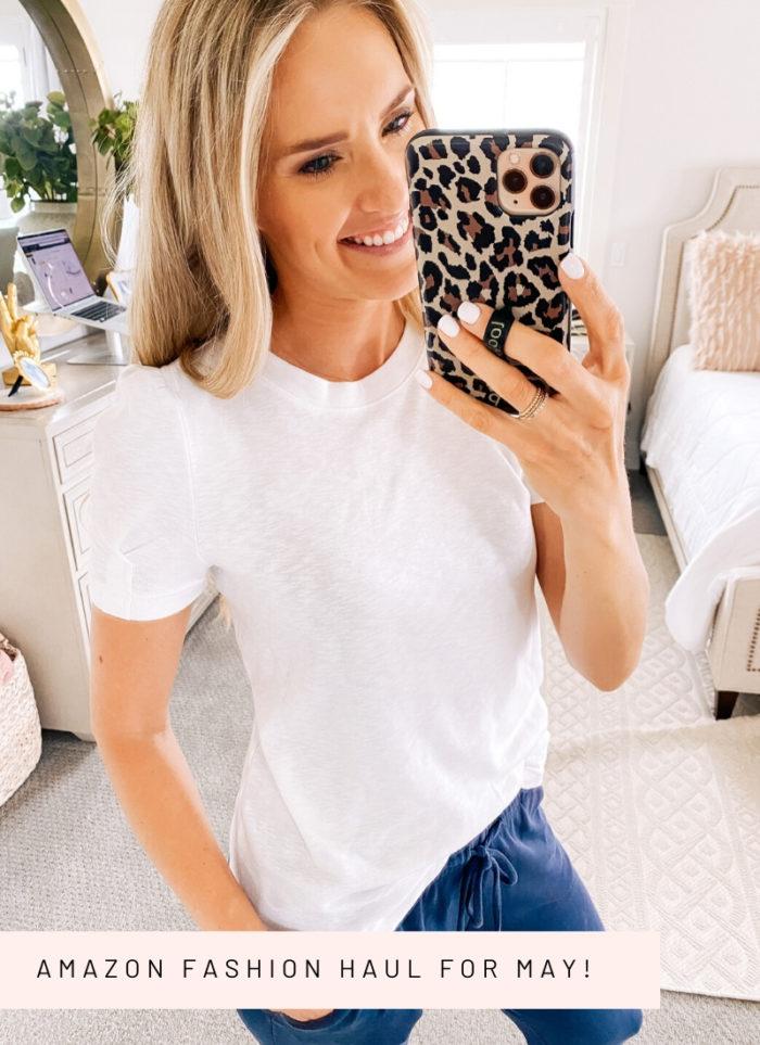Amazon fashion haul for women | Amazon Fashion Haul by popular Utah fashion blog, A Slice of Style: image of a woman wearing a Amazon Daily Ritual Women's Jersey Short-Sleeve Crewneck Boxy Pocket T-Shirt.