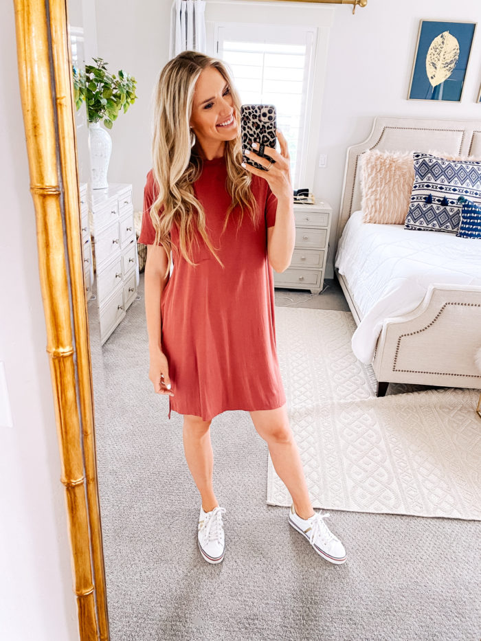 Amazon Fashion Haul by popular Utah fashion blog, A Slice of Style: image of a woman wearing a pair of Amazon Tommy Hilfiger Fentii sneakers and a Amazon Daily Ritual Women's Jersey Short-Sleeve Crewneck Boxy Pocket T-Shirt Dress.