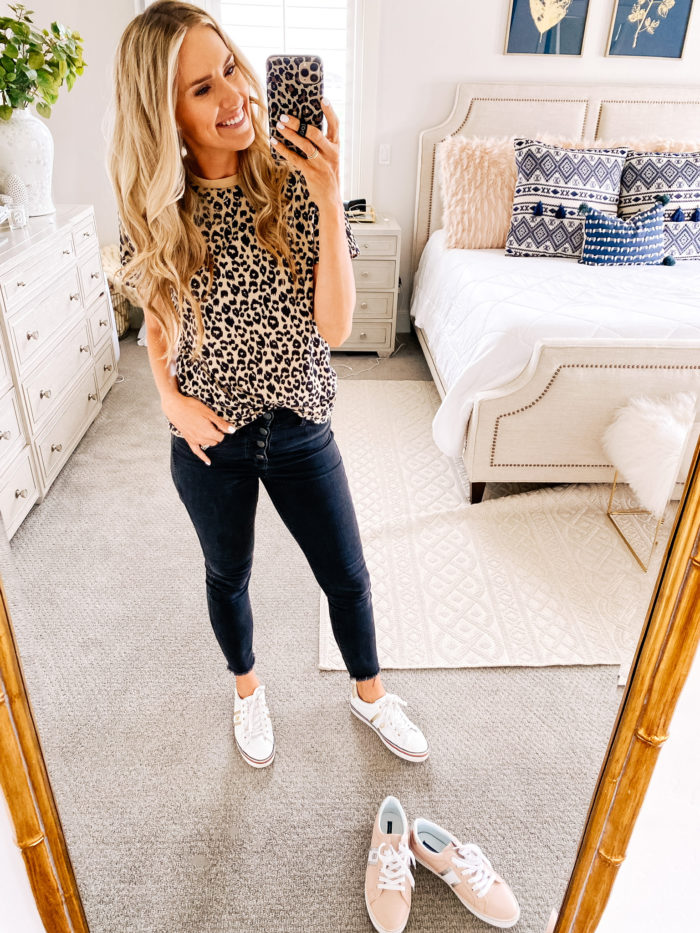 Amazon Fashion Haul by popular Utah fashion blog, A Slice of Style: image of a woman wearing a Amazon BMJL Women's Casual Cute Shirts Leopard Print Tops Basic Short Sleeve Soft Blouse, black jeans, and Amazon Tommy Hilfiger Fentii sneakers.