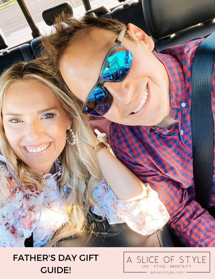 Father's Day Gift Ideas by popular Utah lifestyle blog, A Slice of Style: Pinterest image of a husband and wife sitting together in a car.