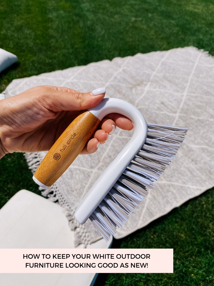 White Outdoor Cushions by popular Utah life and style blog, A Slice of Style: image of Jenica Parcell holding a Full Circle scrub brush.