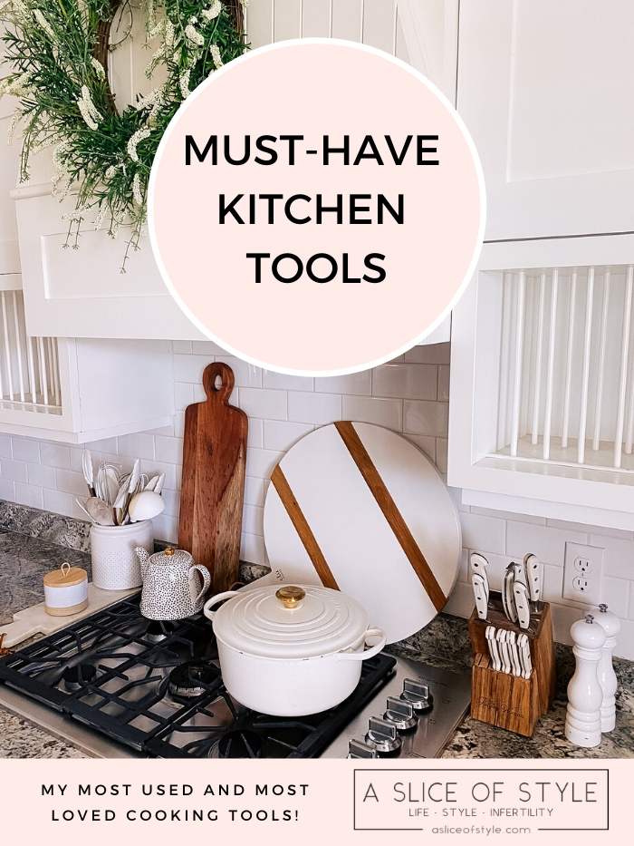 Best Kitchen Tools by popular Utah lifestyle blog, A Slice of Style: Pinterest image of a farmhouse kitchen.