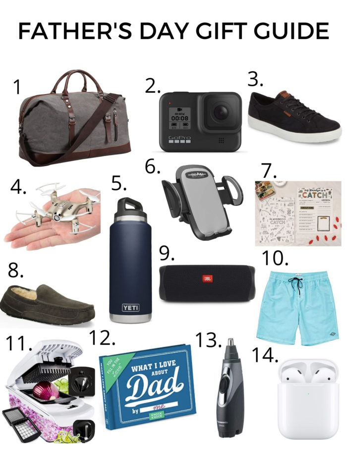 Father's Day Gift Ideas by popular Utah lifestyle blog, A Slice of Style: collage image of a travel bag, Go Pro, ECCO shoe, mini drone, Yeti water bottle, smart phone car mount, Colorly Love printable, UGG slippers, portable speaker, Billabong swimsuit, food chopper, What I love about dad book, Air Pods and Air Pods case, and nose hair trimmer.