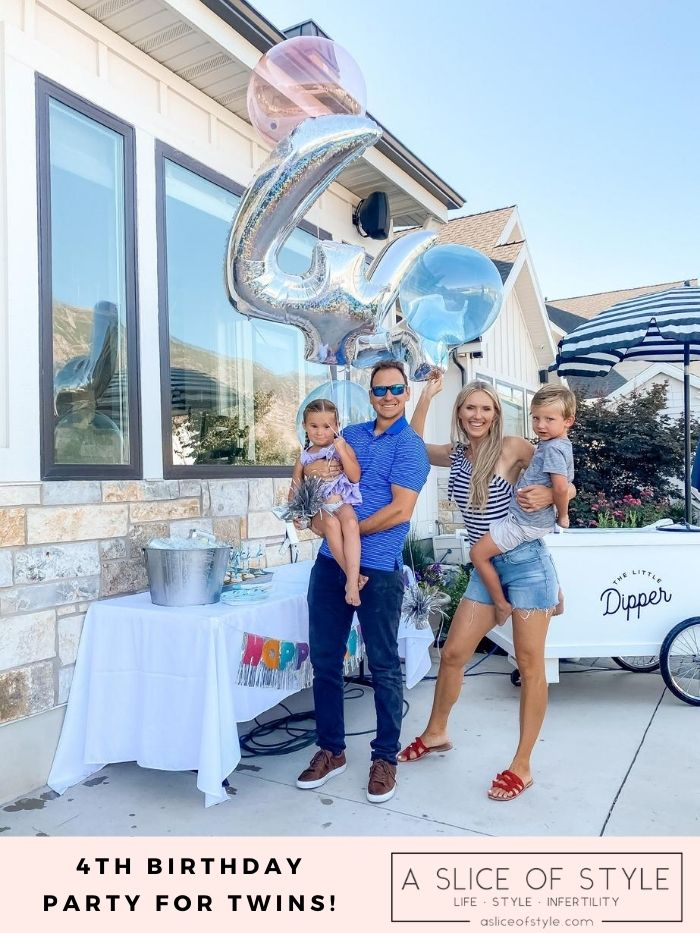 4th Birthday Party by popular Utah motherhood blog, A Slice of Style: image of Jenica Parcell and her husband holding their twin children and bouquet of birthday balloons.