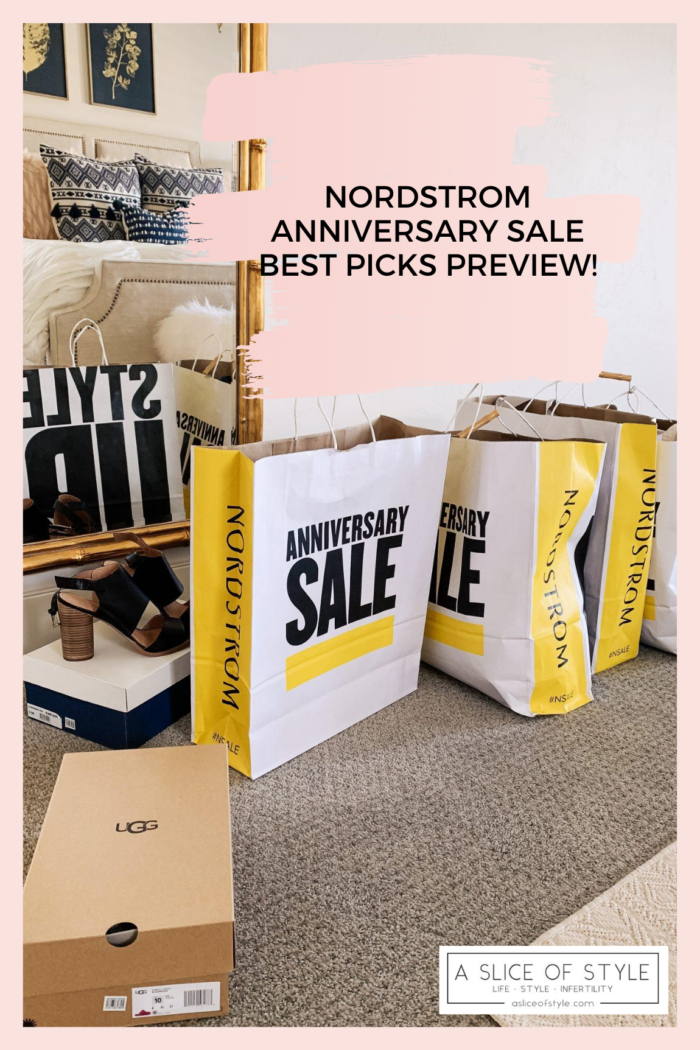 2020 Nordstrom Anniversary Sale Preview featured by top Utah life and style blogger, A Slice of Style. | Nordstrom Anniversary Sale by popular Utah fashion blog, A Slice of Style: image of Nordstrom Anniversary Sale shopping bags next to a couple shoe boxes and a pair of block heel sandals.