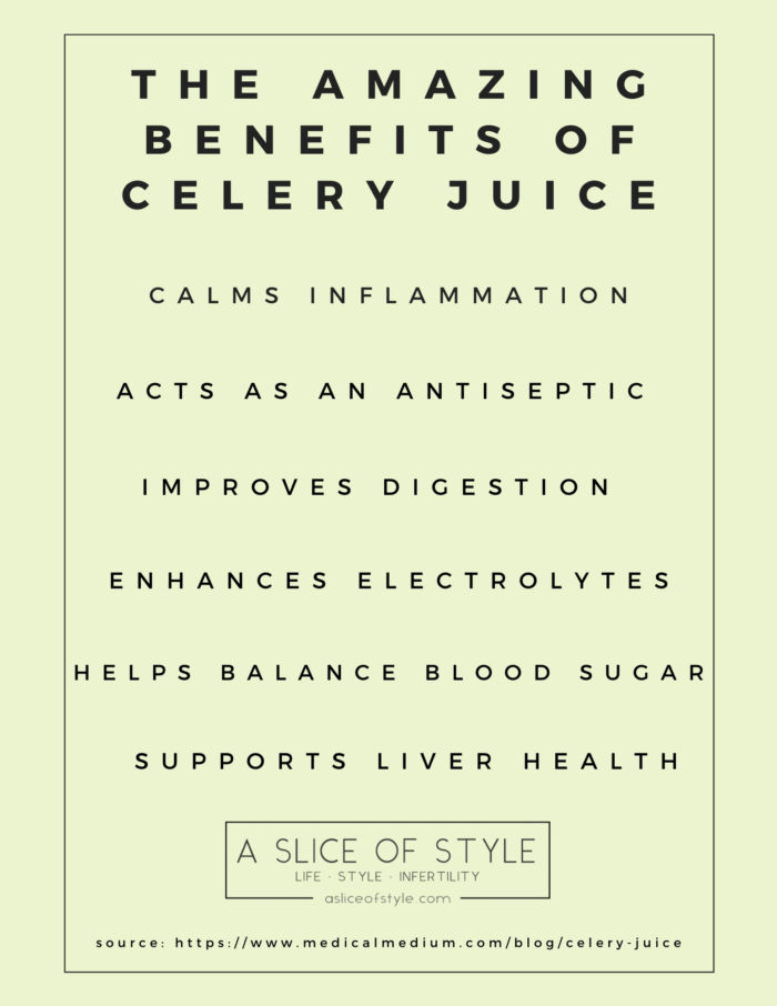 Celery Juice by popular Utah lifestyle blog, A Slice of Style: printable image of the benefits of celery juice.
