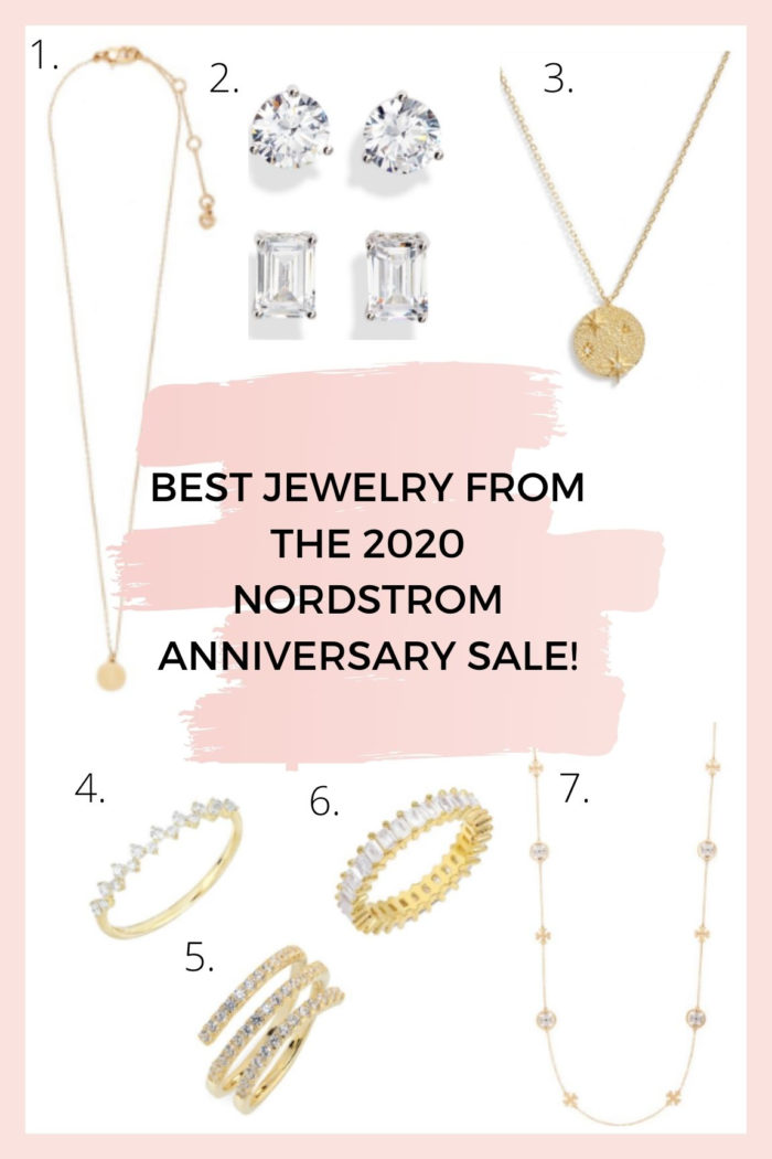 Nordstrom Anniversary Sale by popular Utah fashion blog, A Slice of Style: collage image of a Nordstrom Mini Initial Pendant Necklace, Cubic Zirconia Stuf Earrings, Starburst Medallion Necklace, Stackable Diamond Ring, Multi Wrap Ring, Baguette Eternity Ring, and Rosary Necklace.