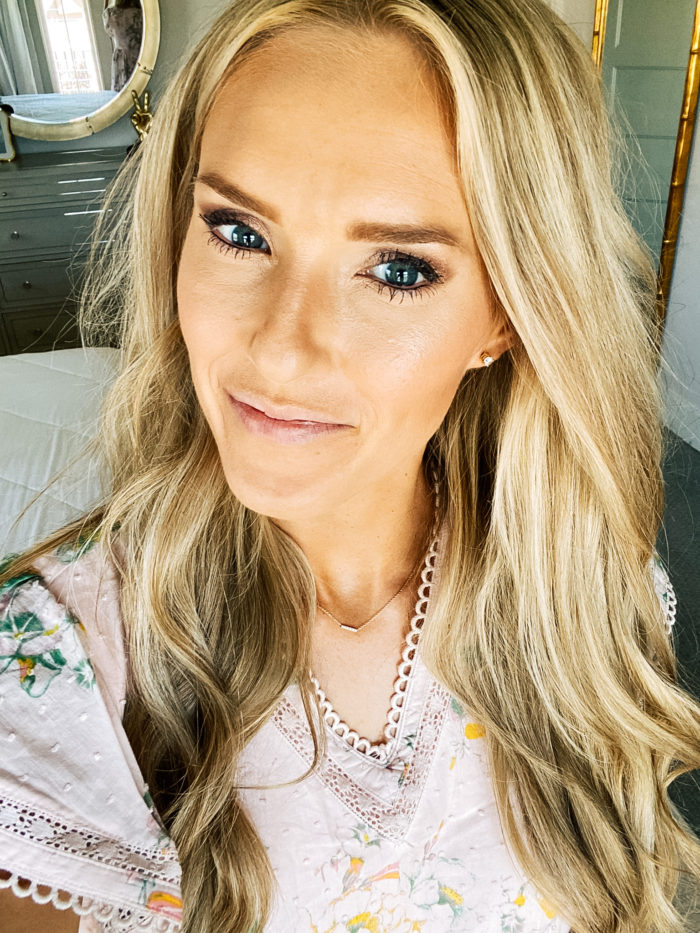 Best Lip Products by popular Utah beauty blog, A Slice of Style: image of Jenica Parcell wearing a pink floral dress, Nordstrom 24/7 Glide-On Lip Pencil URBAN DECAY, Nordstrom Hot Lips Lipstick CHARLOTTE TILBURY, and Nordstrom Full-On™ Plumping Lip Cream BUXOM.