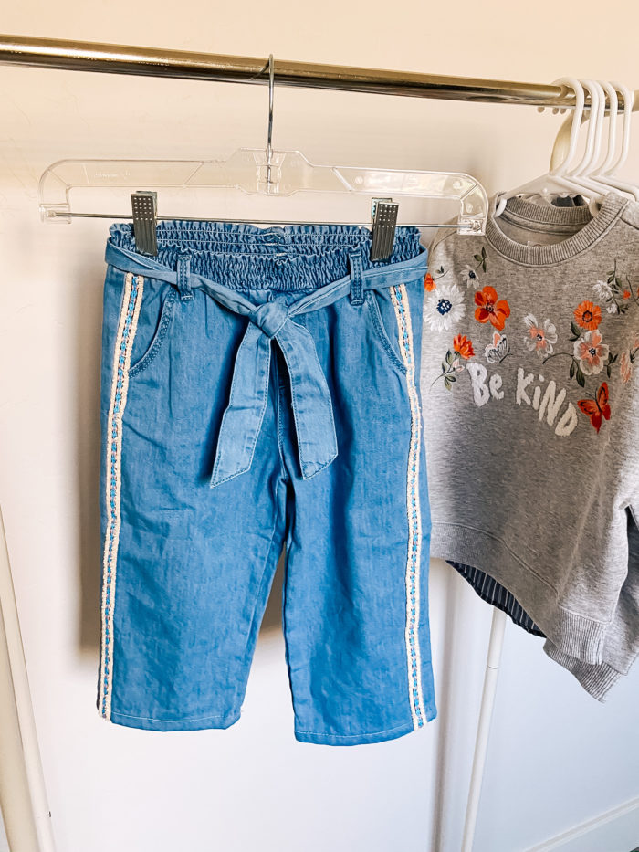 Back to School Fashion with Walmart featured by top Utah lifestyle blogger, A Slice of Style. | Walmart Back to School by popular Utah lifestyle blog, A Slice of Style: image of a pair of Walmart Wonder Nation Baby Toddler Girl Belted Wide Leg Cropped Jeans.