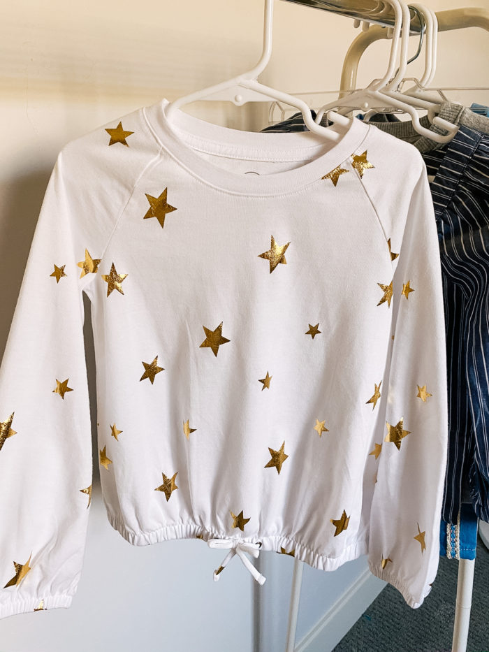 Back to School Fashion with Walmart featured by top Utah lifestyle blogger, A Slice of Style. | Walmart Back to School by popular Utah lifestyle blog, A Slice of Style: image of a Walmart Wonder Nation Girls Long Sleeve Foil Tie-Front Top.