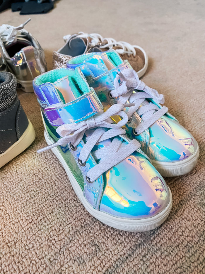 Walmart Back to School Fashion with Walmart featured by top Utah lifestyle blogger, A Slice of Style. | Walmart Back to School by popular Utah lifestyle blog, A Slice of Style: image of a pair of Walmart Wonder Nation Athletic Iridescent High-Top Sneakers.