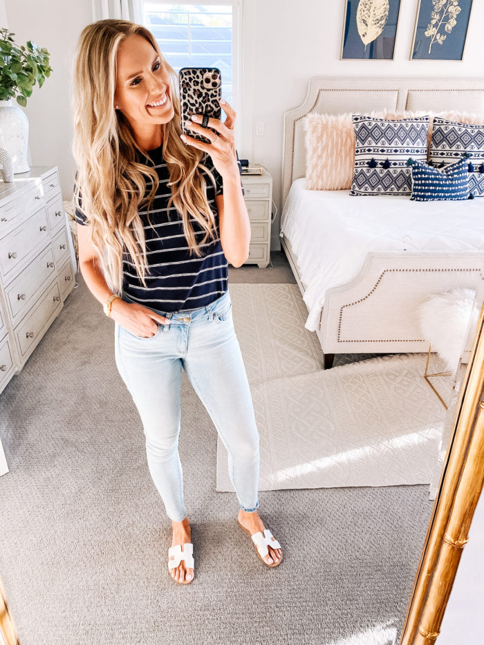 Summer Essentials by popular Utah life and style blog, A Slice of Style: image of Jenica Parcell wearing a Amazon Daily Ritual Women's Cotton Modal Stretch Slub Puff Sleeve T-Shirt.