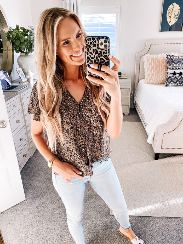Summer Essentials by popular Utah life and style blog, A Slice of Style: image of Jenica Parcell wearing a Amazon Goodthreads Women's Fluid Twill Covered-Button Short-Sleeve Shirt.