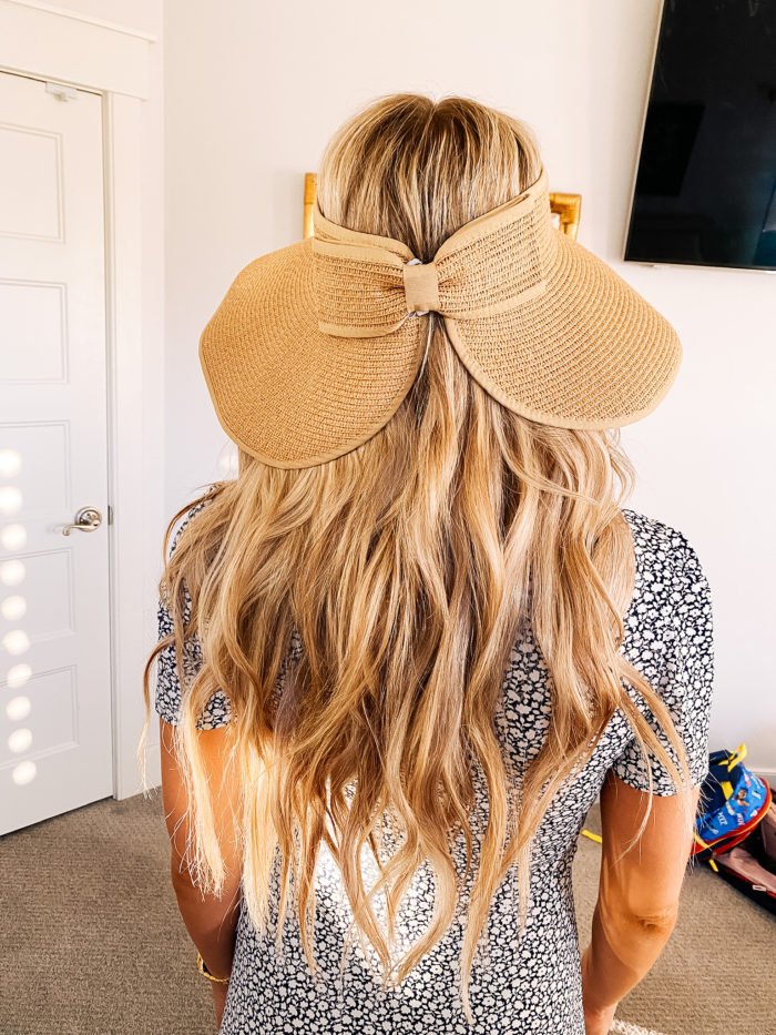 "Summer Essentials by popular Utah life and style blog, A Slice of Style: image of Jenica Parcell wearing a pair of Amazon ""STUNNING FLAME"" 18K Gold Plated Silver Brilliant Cut Simulated Diamond Cubic Zirconia Stud Earrings, straw sun hat, and black and white floral print dress."