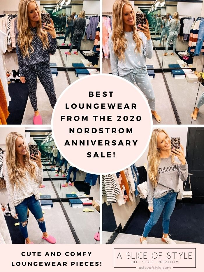 Nordstrom Anniversary Sale by popular Utah fashion blog, A Slice of Style: collage image of Jenica Parcell wearing some Nordstrom pajama sets, a long sleeve leopard print top, and a long sleeve sweatshirt.