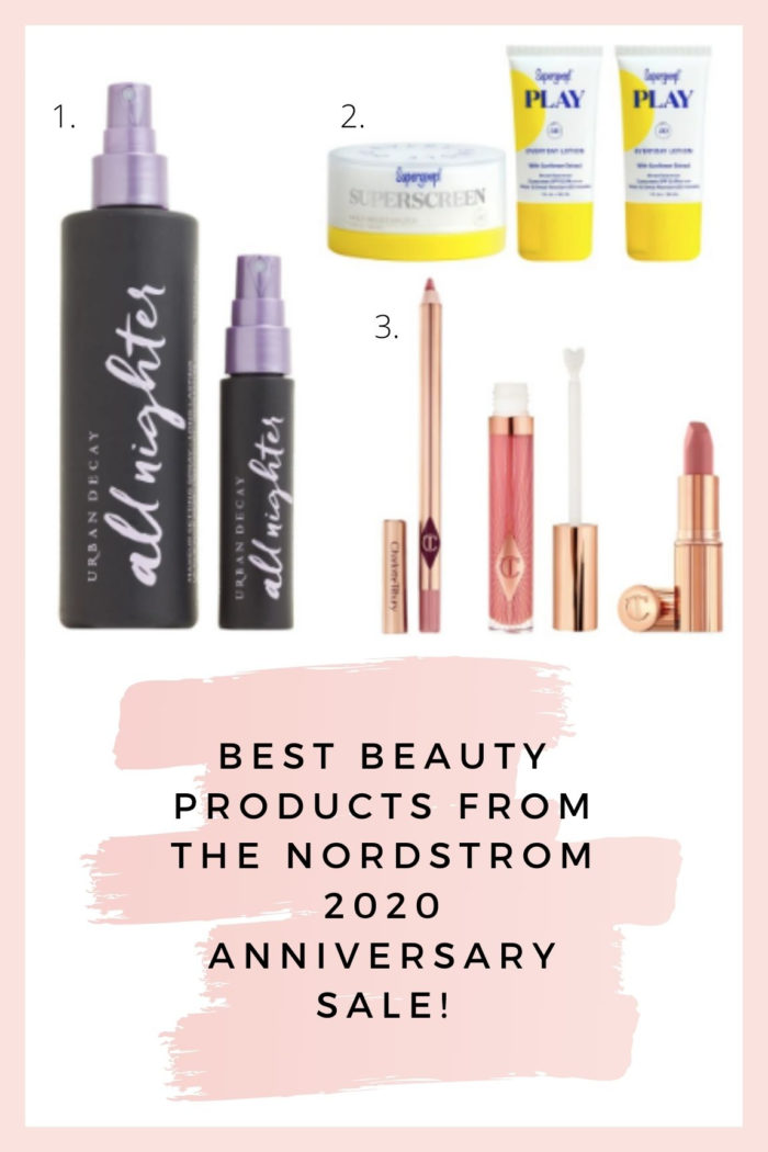 Nordstrom Anniversary Sale by popular Utah beauty blog, A Slice of Style: collage image of Nordstrom All Nighter setting spray, Supergoop! sunscreen, and Pillow Talk lip secrets set.